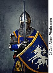 middeleeuws, ridder, op, grijze , achtergrond.
