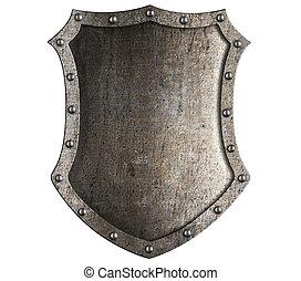 middeleeuws, ridder, schild, vrijstaand, op wit