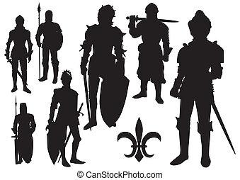 middeleeuws, ridder, silhouette