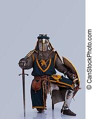 middeleeuws, ridder, staand, op, zijn, knee.