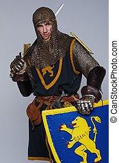 middeleeuws, ridder, vrijstaand, op, grijze , achtergrond.