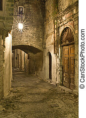 middeleeuws, stad, van, rhodes, in, griekenland