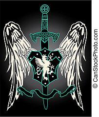 middeleeuws, vleugel, met, zwaard, embleem