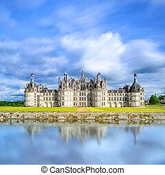 middeleeuws, weerspiegeling., chambord, de, frans frankrijk,...
