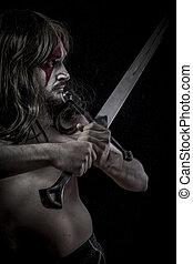 middeleeuws, wilde, strijder, met, ijzer, zwaard