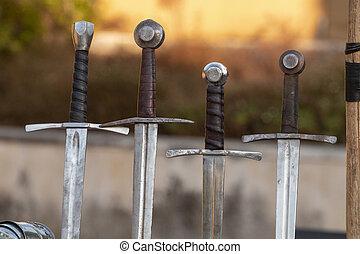 middeleeuws, zwaarden, detail