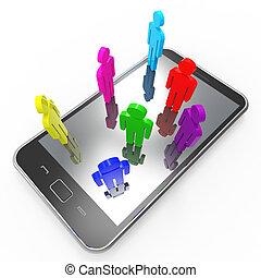 middelen, communicatie, globaal, telefoon, communicatie, praatje