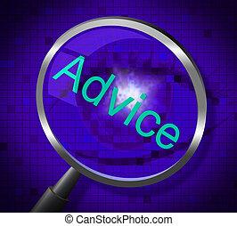 middelen, raad, antwoorden, informeren, vergrootglas, leiding