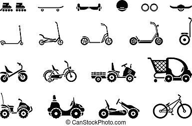middelen, vervoer, gevarieerd, set, wielen, voertuigen, ...