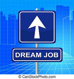 middelen, werving, werk, richtingwijzer, droom, display
