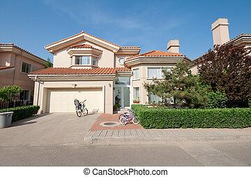 middelhavet, enlig familie hus, beijing, kina