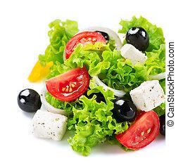 middellandse zee, salad., griek slaatje, vrijstaand, op, een, witte achtergrond