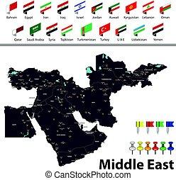 midden-oosten, kaart