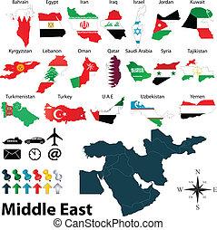 midden-oosten, landkaarten
