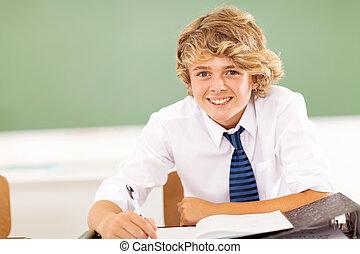 middenschool, jongen, in, klaslokaal