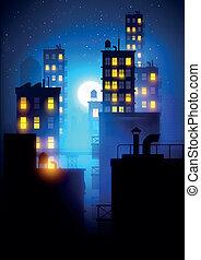 middernacht, stad