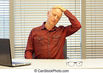 middle age balding man relaxing neck - short break for...