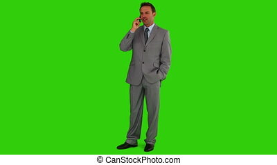 Middle-age businessman having a phone call - Chroma-key...