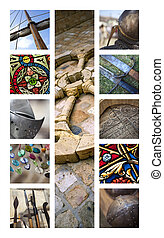 Middle age collage - Medieval architecture and objects on a...