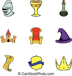 Middle age icons set, cartoon style