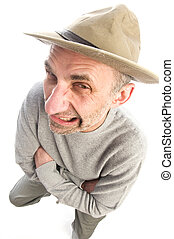 middle age man adventure hat fish eye view