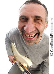 middle age man  guitar player fish eye view
