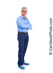 middle age man arms crossed isolated on white