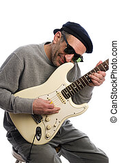 middle age man playing guitar musician