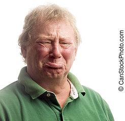 middle age senior man emotional funny face upset crying like a baby