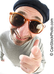 middle age senior man happy smiling pointing finger at camera wearing artist french hippie beret hat macro close up distorted large nose face
