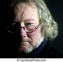 middle age senior man with long hair