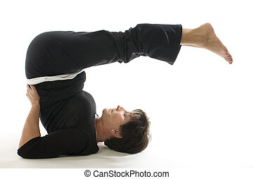 middle age senior woman back stretch yoga position