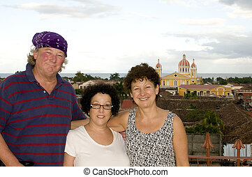 middle age tourists view of Cathedral of Granada Nicaragua