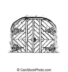 Vector illustration set of hand drawn middle age vintage door. Black and white, isolated on white.