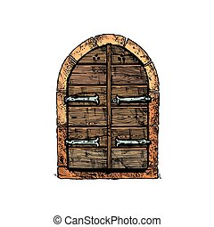 Vector illustration set of hand drawn middle age vintage door. isolated on white background.