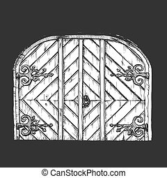 Vector illustration set of hand drawn middle age vintage door. Isolated on black background