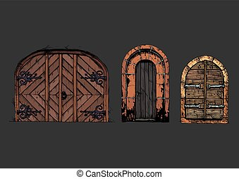 Vector illustration set of hand drawn middle age vintage doors. Isolated on black background.
