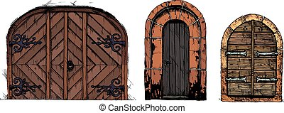 Vector illustration set of hand drawn middle age vintage doors. isolated on white background.