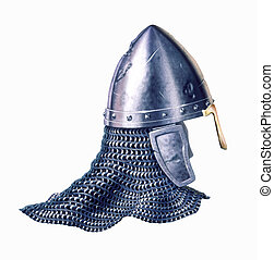 Middle age warrior helmet, on white background. - Middle age...