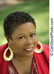 Middle Aged African American Woman portrait outdoors