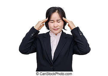 Middle aged asian woman with headache
