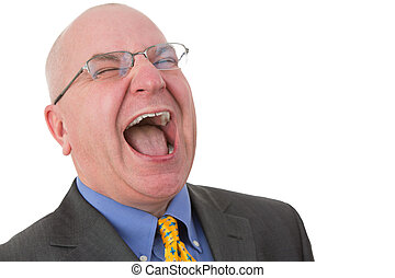 Middle-aged bald businessman laughing out loud - Horizontal...