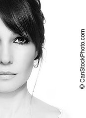 Middle-aged beauty - Black and white portrait of beautiful...