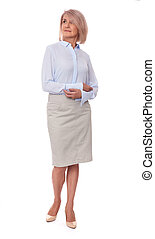 middle aged business woman isolated on white