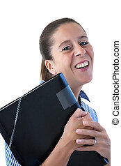 Middle aged business woman laughing with head back holding a black file on a white background