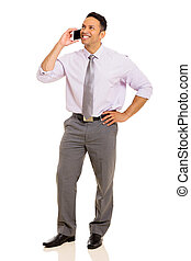 middle aged businessman talking on mobile phone