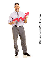 middle aged businessman with growth arrow