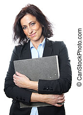 middle aged businesswoman with file