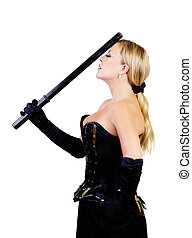 Middle Aged Caucasian Woman Standing Corset And Baton