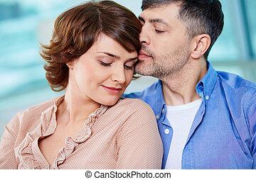Middle aged couple - Portrait of tender couple enjoying ...